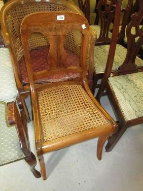 Mahogany vase backed cane seated chair on sabre front