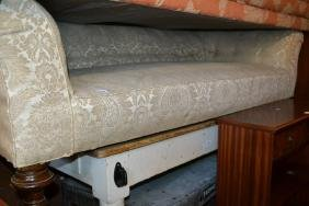 19th Century Chesterfield sofa with beige upholstery on