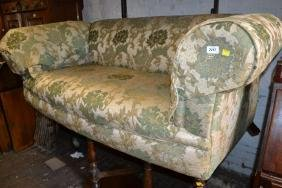 Victorian floral upholstered two seat Chesterfield sofa