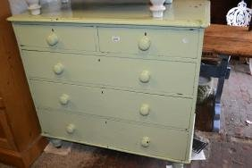 19th Century painted pine chest of two short over three