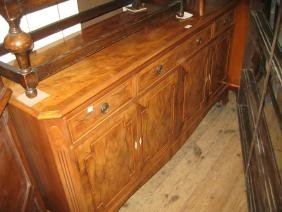 Good quality reproduction yew wood sideboard with three