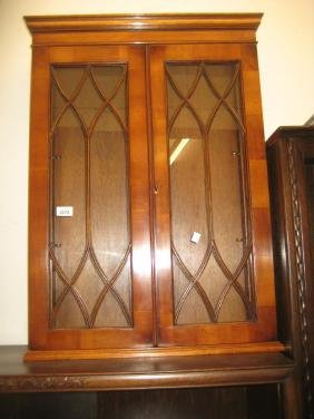 Reproduction yew wood two door wall cabinet with bar