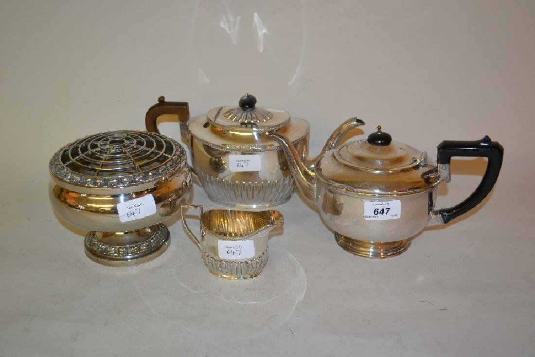 Two plated teapots, cream jug and a rose bowl
