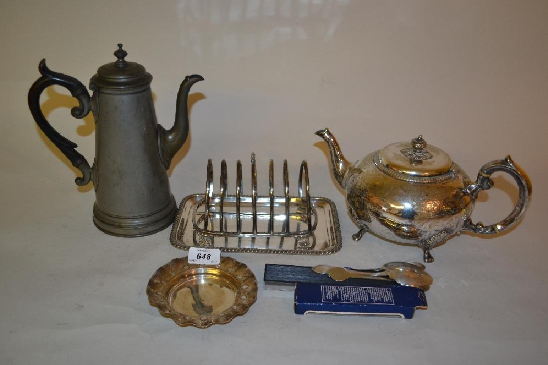 Small Victorian silvered dish and a small quantity of