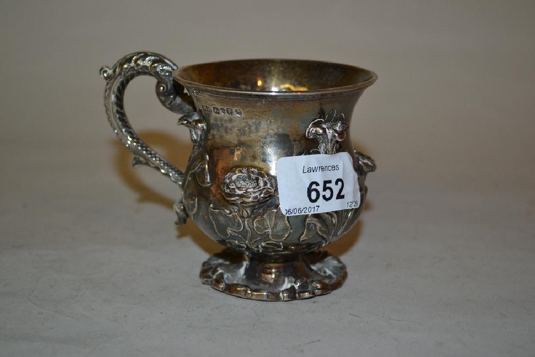 Small William IV silver baluster form Christening mug,