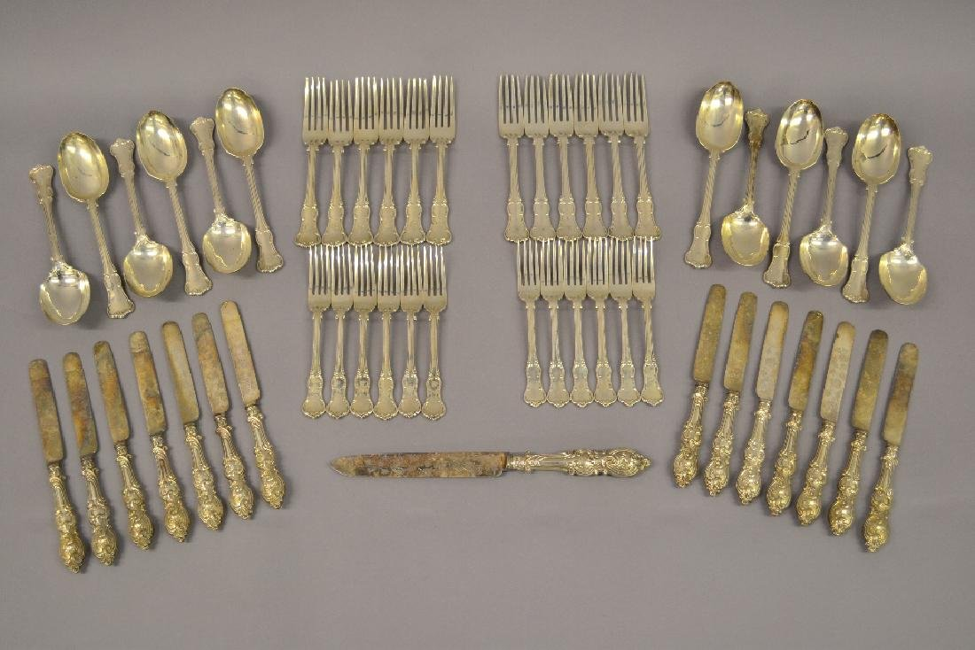 Twelve place setting canteen of Victorian silver