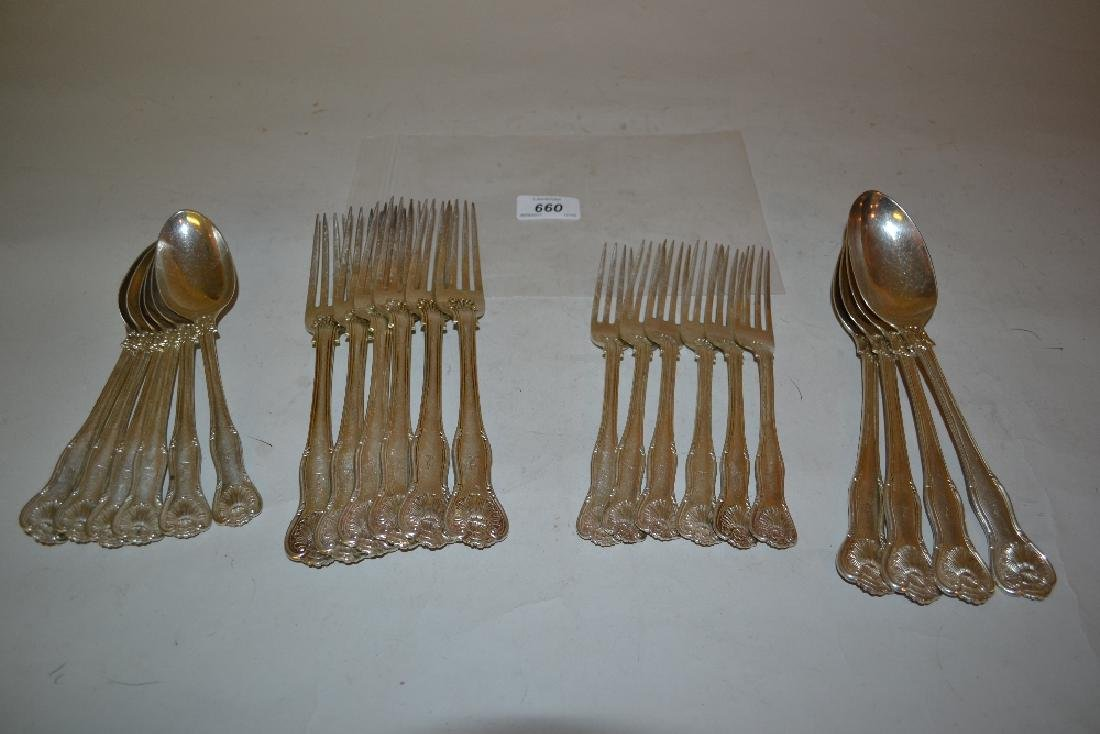 Six place setting part canteen of Edwardian silver