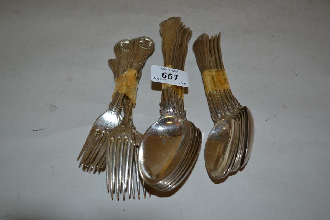 Set of six late George III silver Shell pattern