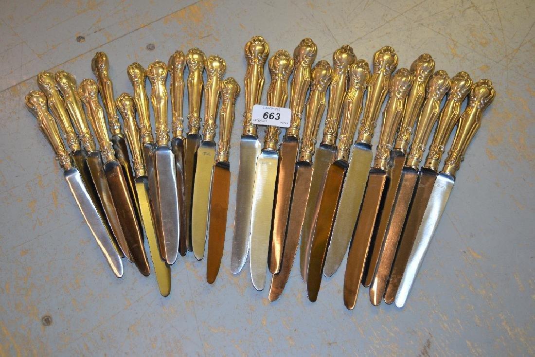 Set of twelve Victorian silver handled dinner knives,