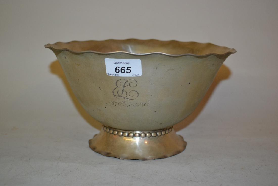 Danish silver bowl of hand beaten design circa 1930,