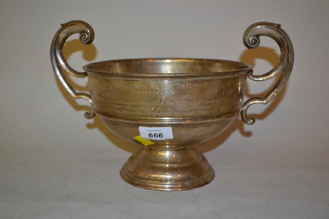 Large silver two handled trophy cup with presentation
