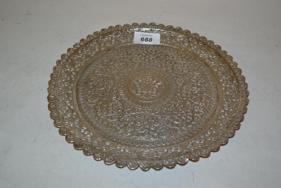 Burmese silver salver with shaped and pierced border