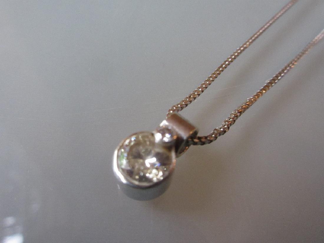 18ct White gold diamond pendant, the diamond