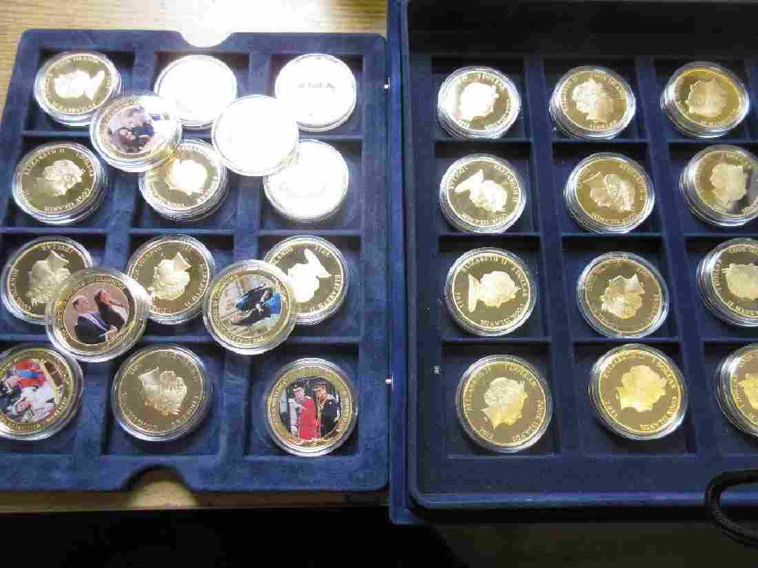 Set of thirty Elizabeth II proof gold plated nickel