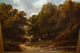 19th Century gilt framed oil on canvas, figure and