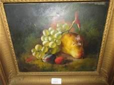 GF Broome oil on canvas still life fruit 10ins x