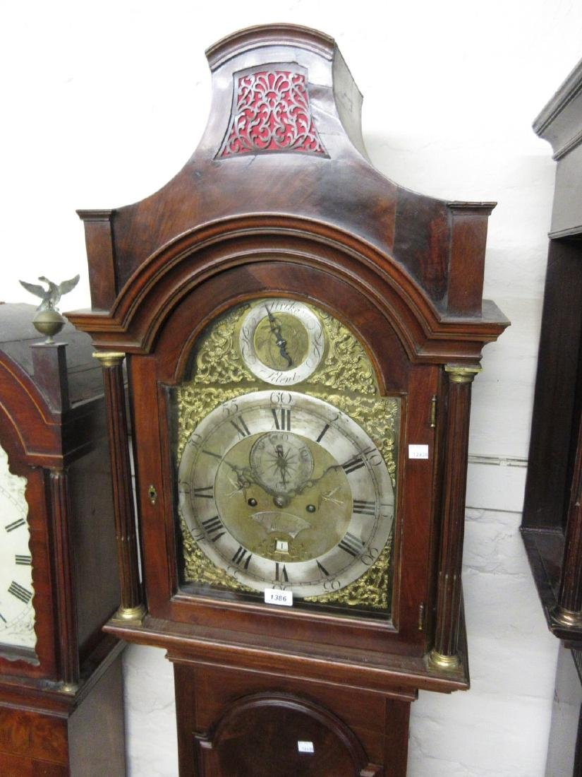 George III mahogany longcase clock, the arched hood