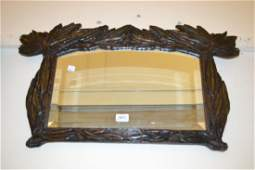 Small early 20th Century carved wooden framed bevelled