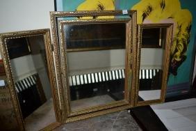 Gilt Framed Three Section Folding Dressing Table Mirror