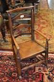 19th Century childs elm Lancashire type ladder back