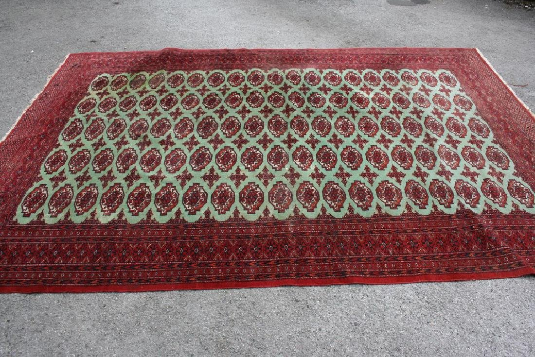 Indo Persian carpet of Tekke design with five rows of