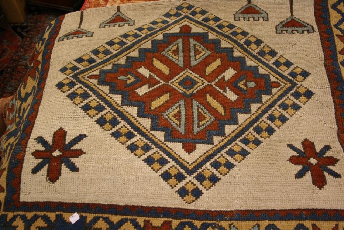 Modern Turkish rug with twin medallion design on an