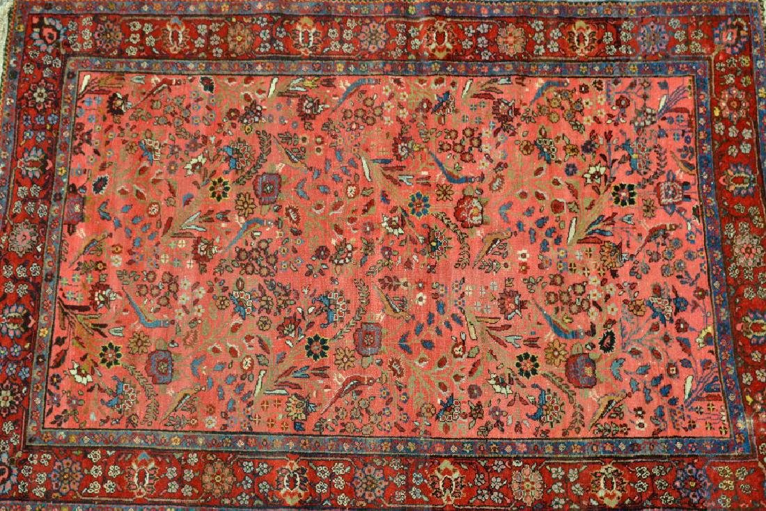 Saruq rug with an all-over stylised floral and bird