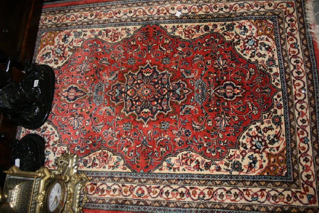 Small Tabriz rug with a lobed medallion and all-over