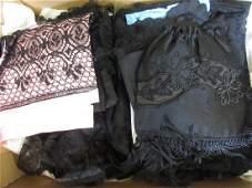 Large quantity of Victorian black lace shawls, veils