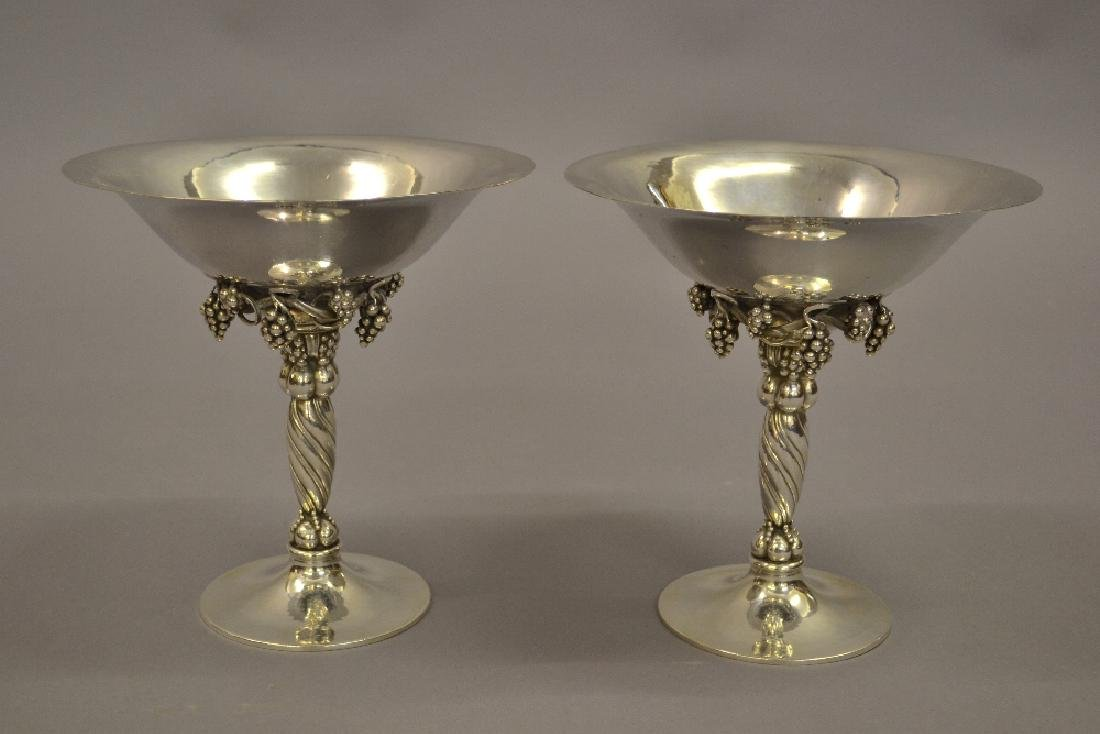 Pair of Georg Jensen sterling silver tazzas of cast