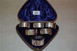 Cased set of six Victorian silver plated buckle form