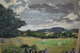 Modern British school oil on canvas study of a cricket