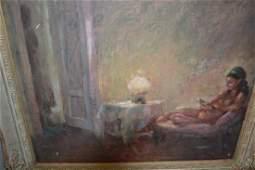 20th Century oil on board, interior scene with a
