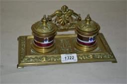 Edwardian brass two bottle inkstand