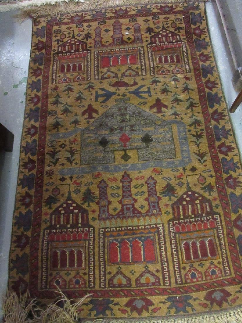 Afghan Belouch rug with tan ground, 4.5ft x 3ft and a