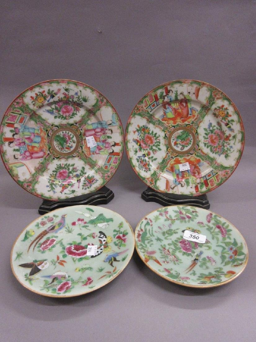 Pair of Chinese Canton famille rose plates together