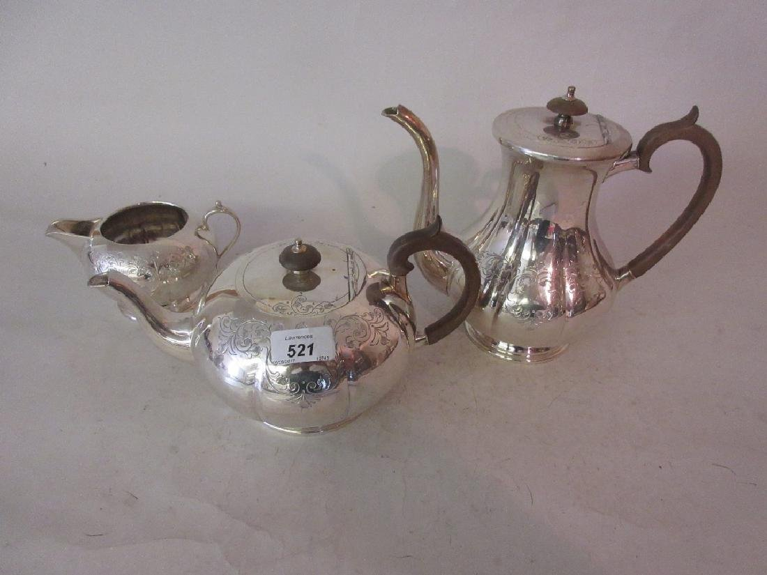 Victorian silver plated three piece tea service