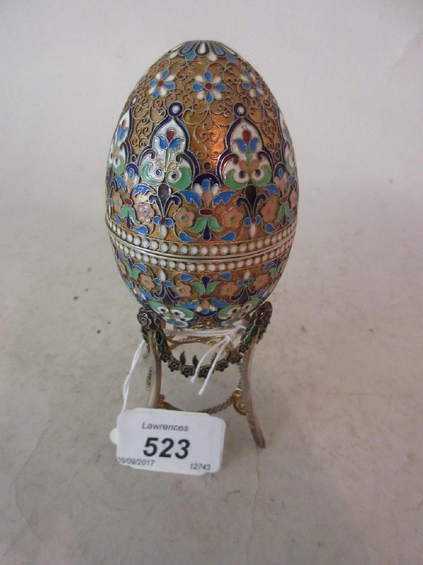 Continental silver, silver gilt and coloured enamel egg