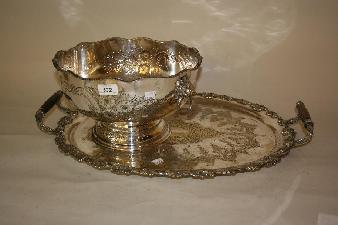Victorian oval silver plated two handled tray with
