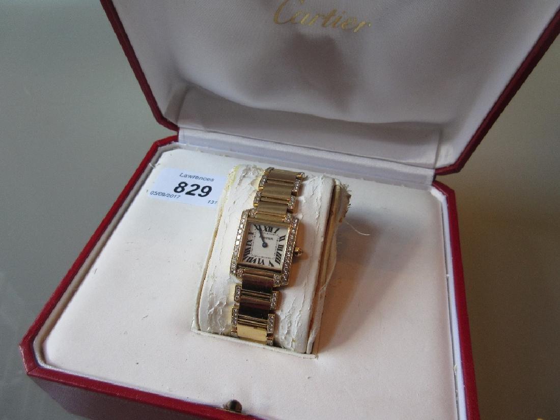 Cartier ladies 18ct yellow gold diamond set Tank