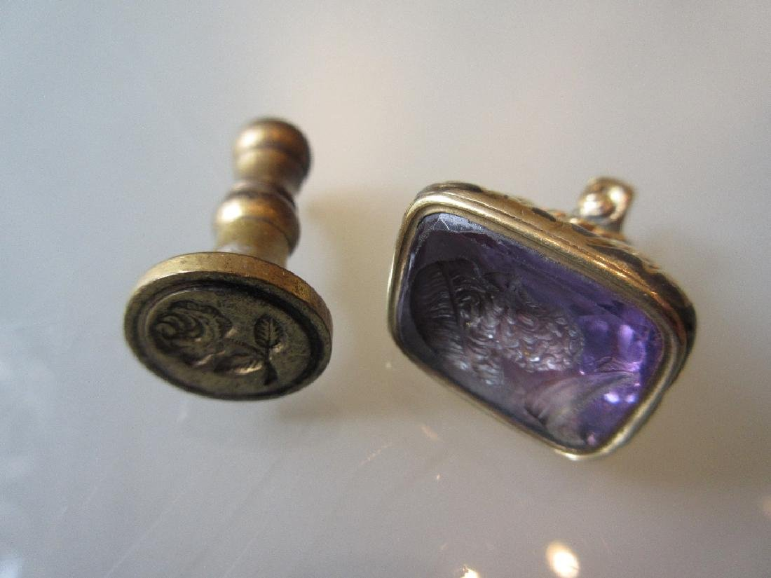 Victorian yellow metal intaglio set seal together with