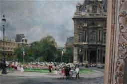 Jules Rene Herve, oil on canvas, figures before flower