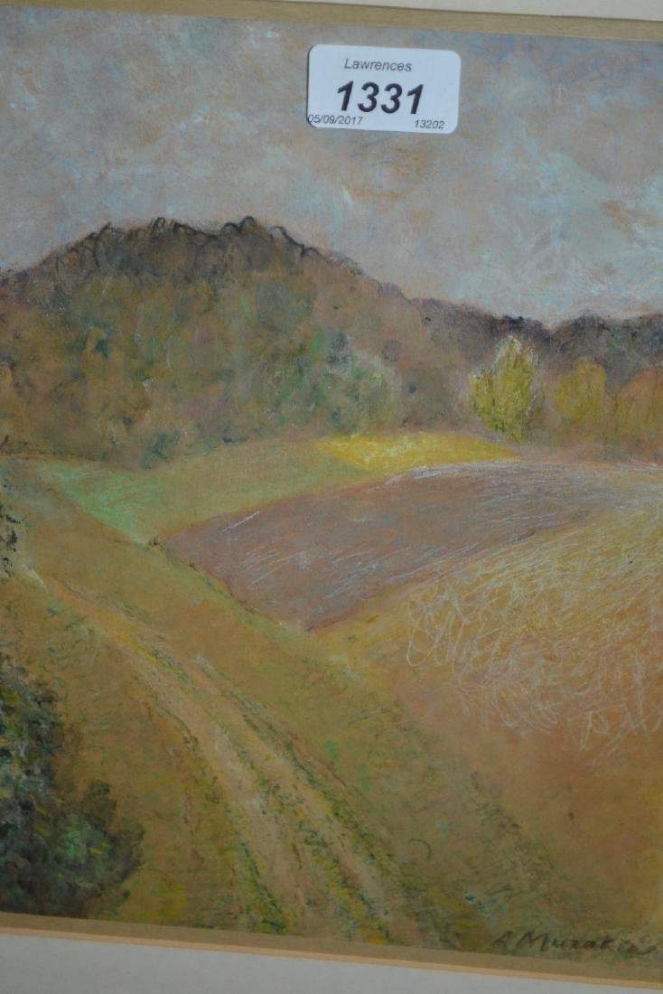 Ants Murakin, 1920's pastel landscape with track and