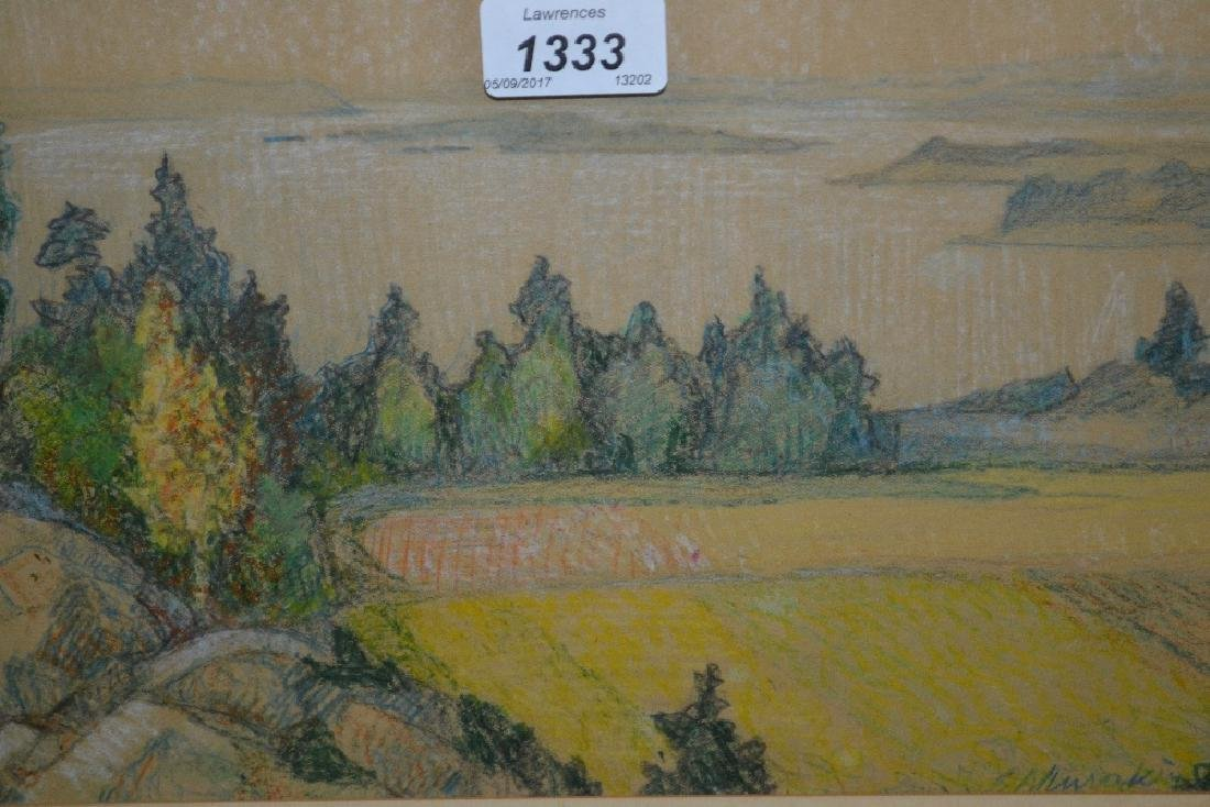 Ants Murakin, pastel landscape with trees and