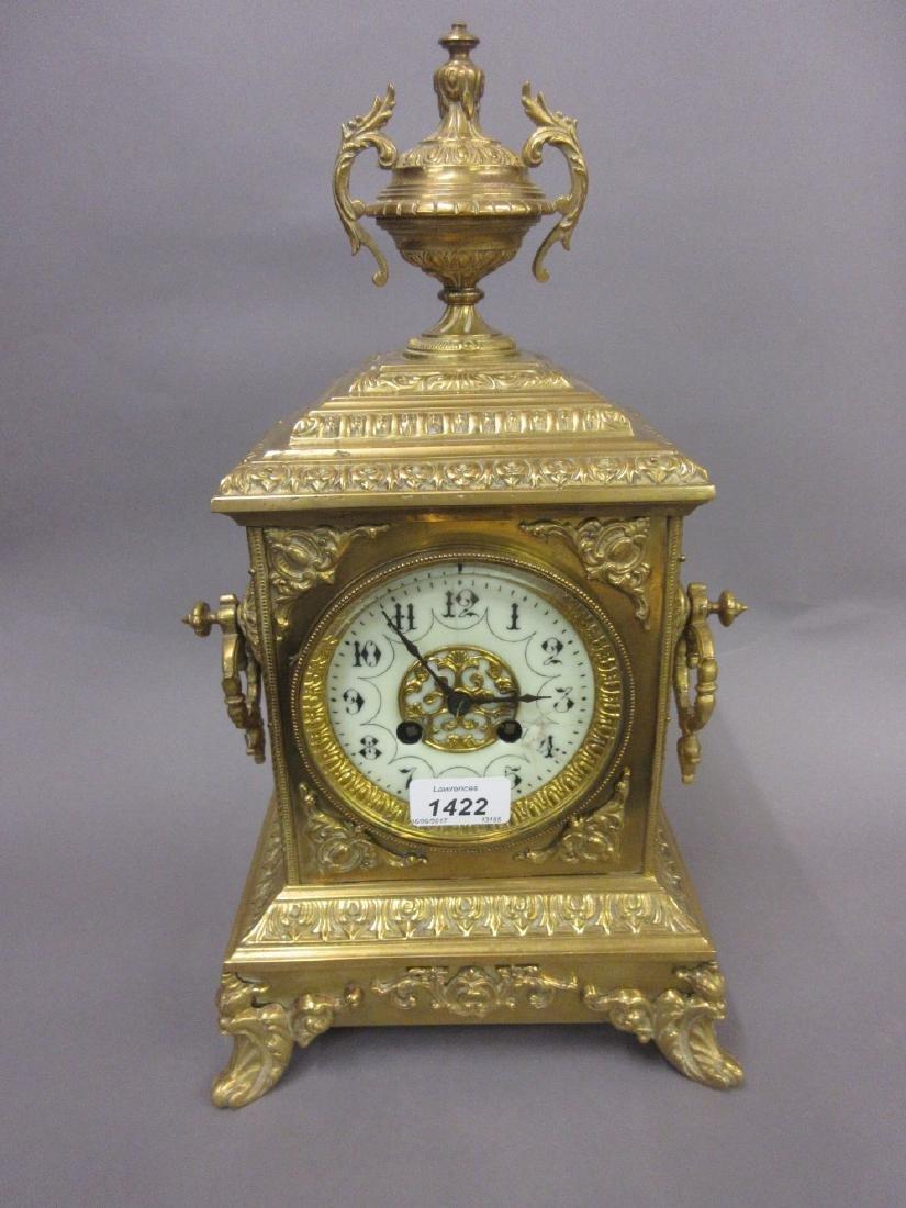 19th Century gilt brass mantel clock having circular
