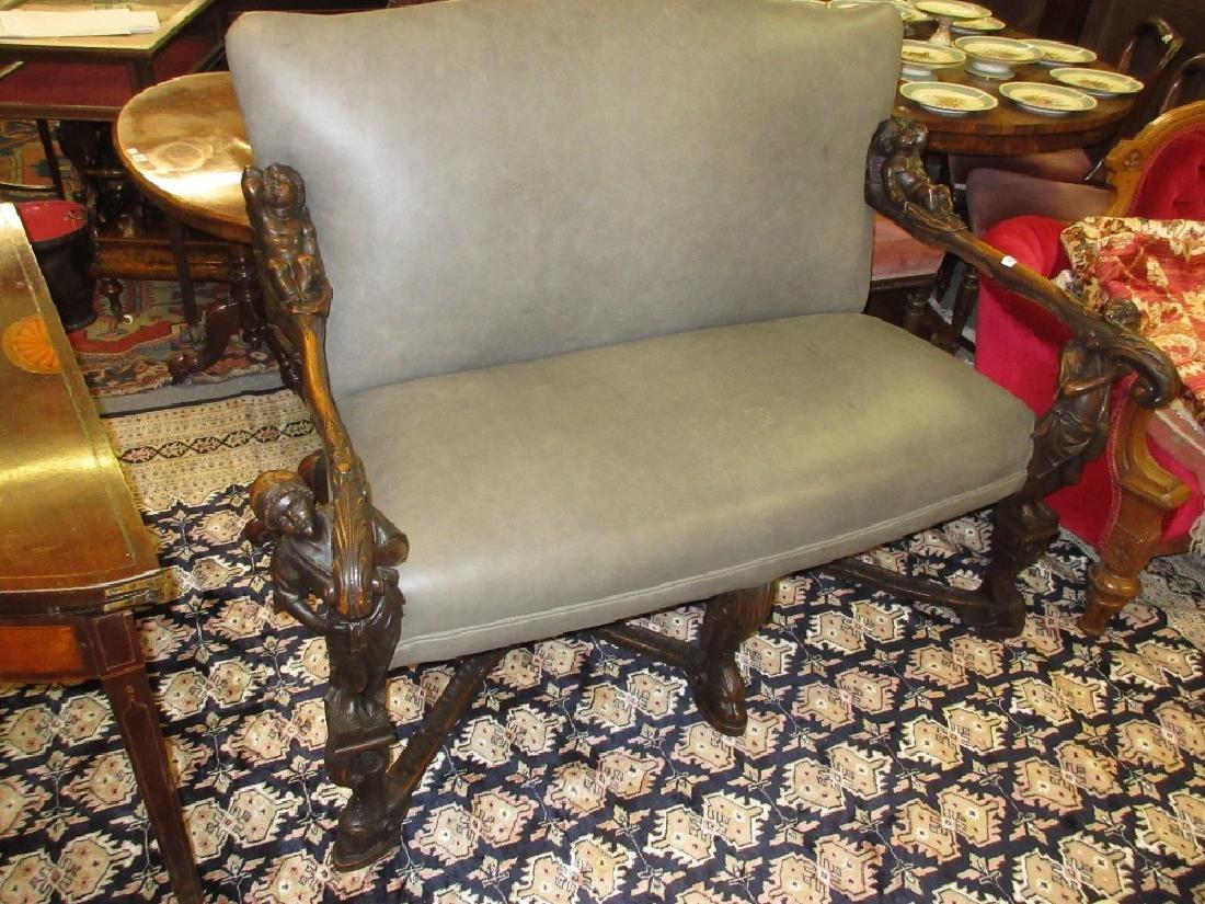 Unusual 19th Century Continental walnut two seat sofa,