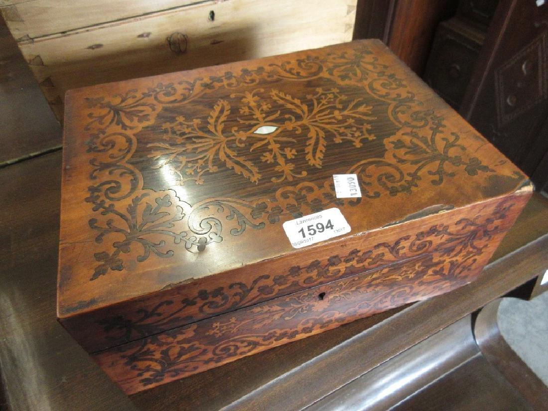 19th Century marquetry inlaid work box