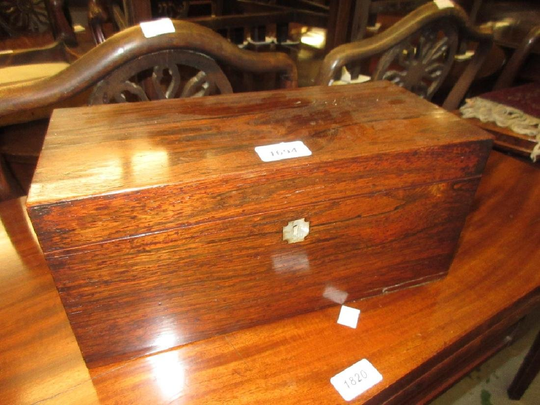 Victorian rosewood rectangular three division tea caddy