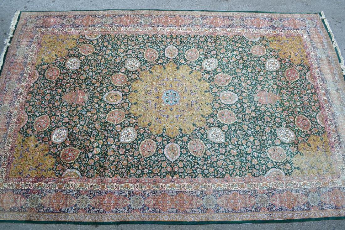 Tabriz carpet with lobed medallion and all-over floral