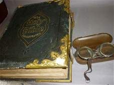Large Victorian leather bound family bible, together